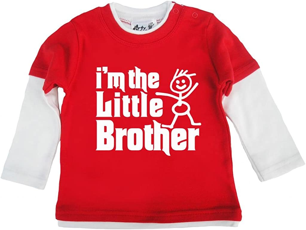 """Dirty Fingers Baby Boy T-Shirt /""""I/'m the Baby Brother/"""" Newborn Gift Little"""