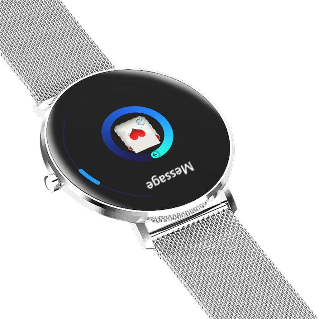 GXOK L6 1.22Inch Color Full Screen Smart Watch with IP68 Waterproof Heart Rate Monitor Smart Watch (Silver) by GXOK