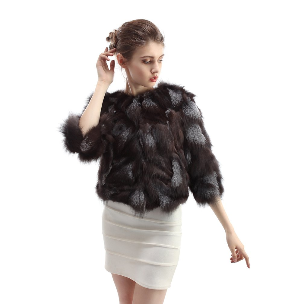 OLLEBOBO Women's Coat For Winter Genuine Fox Fur Knitted Coat without Belt Size 2XL Black by OLLEBOBO (Image #5)