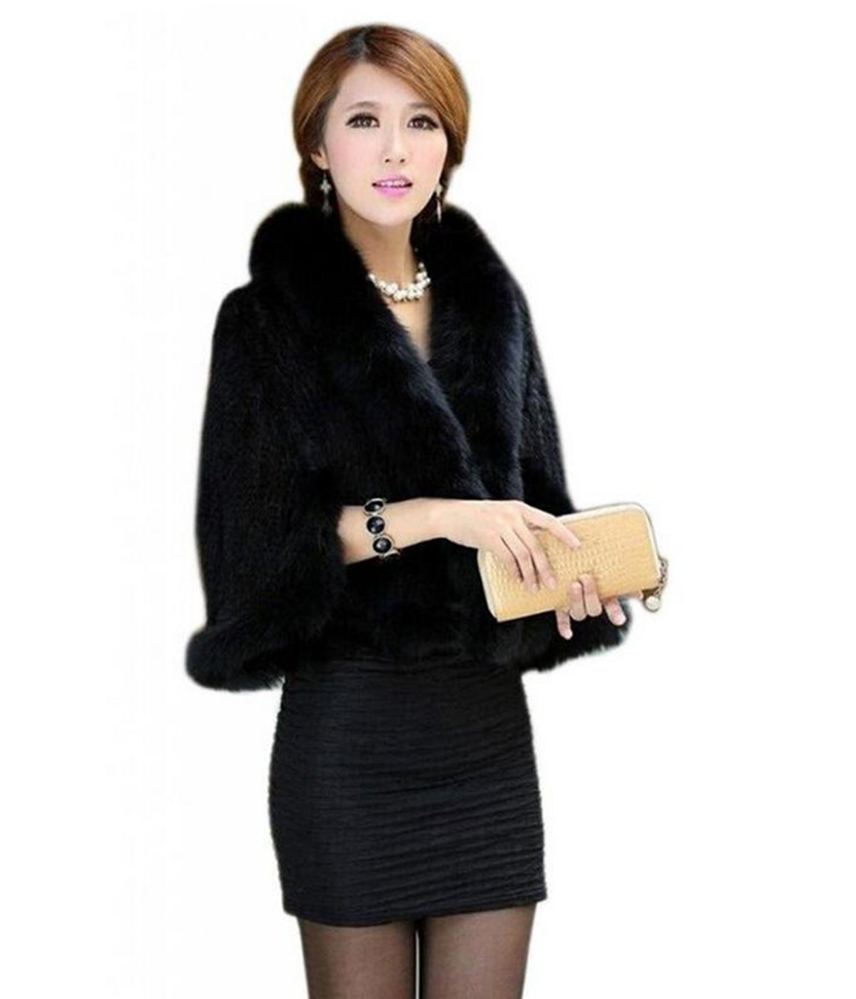 MEEFUR Women's Natural Mink Fur Knitted Cappa Cloak Cape with Fox Fur Collar (Black)