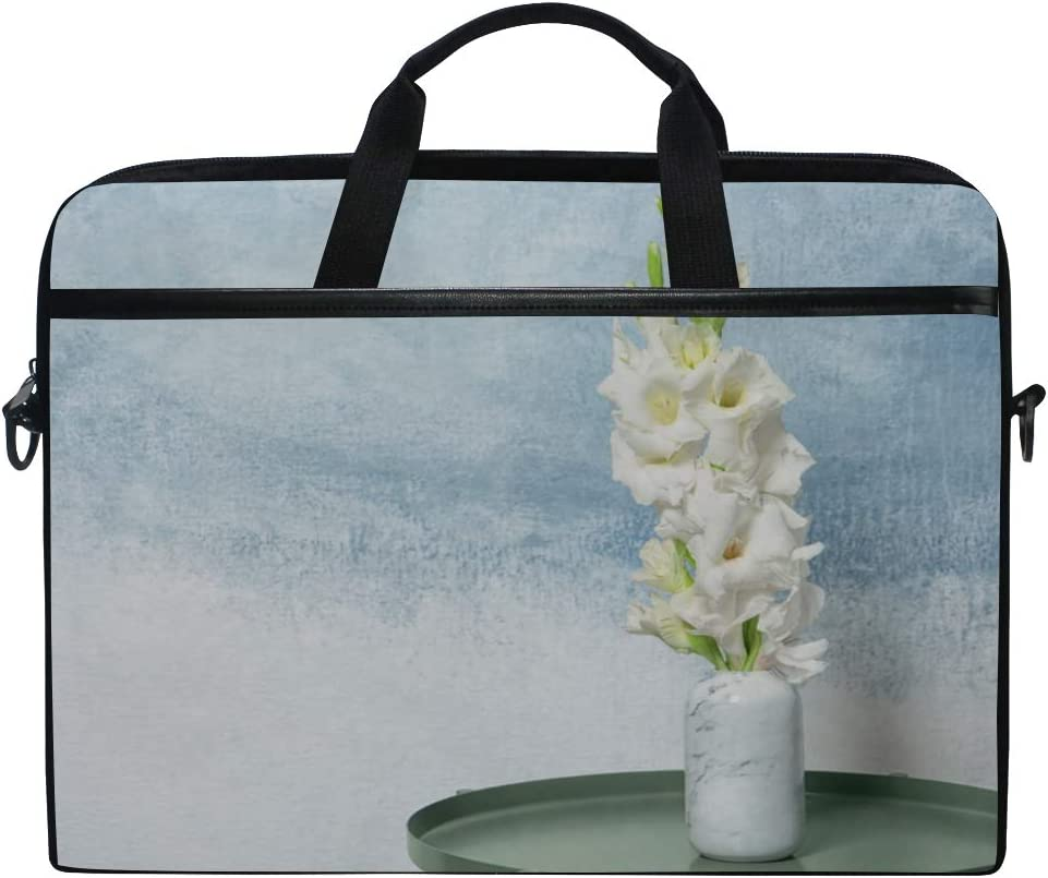 Briefcase Messenger Shoulder Bag for Men Women Laptop Bag Vase Beautiful Gladiolus Flowers On Table 15-15.4 Inch Laptop Case College Students Busin