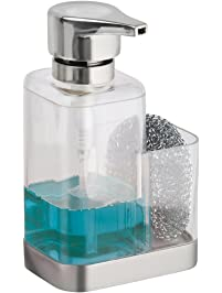 MDesign Soap Dispenser Pump With Sponge Or Scrubber Holder For Kitchen  Countertops   Clear/Brushed