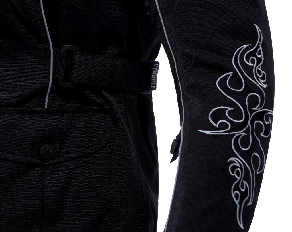 Ledershop-online 1509 Bangla Damen Motorrad Jacke Bikerjacke Textil schwarz mit Tribalmuster Gr XXL