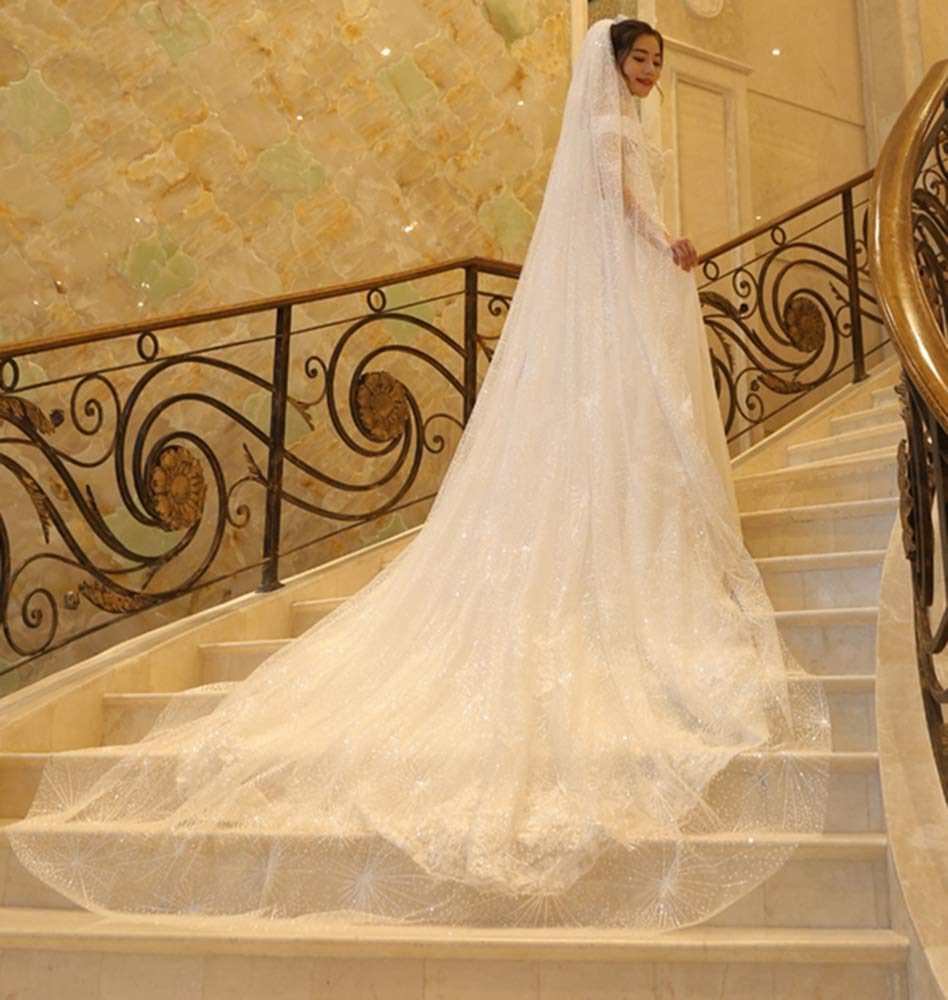 Faiokaver Cathedral Wedding Veils Sparkly 1 Tier Shinning Sequins Elegant Long Chapel with Comb by Faiokaver (Image #3)