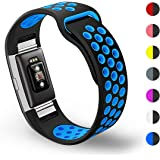 Hanlesi Fitbit Charge 2 Band, Soft Silicone Breathable Fashion Sport Strap for Fit bit Charge2 Replacement Original Accessory Black Wristband with Hole for Girl Boy