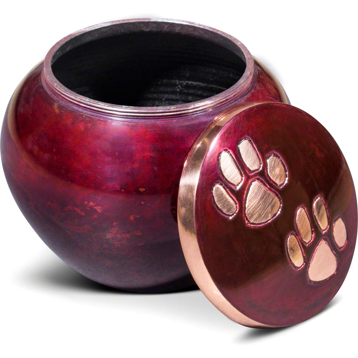 Best Friend Services Dog and Cat Pet Cremation Urn, The Mia Series with Raku Color Finish and Hand Carved Brass Paws, Medium Size to Memorialize Pets up to 40lbs by Best Friend Services