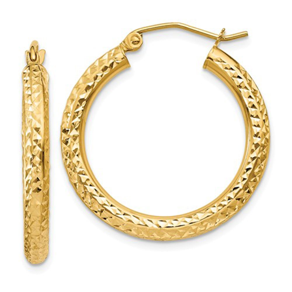 14K Yellow Gold Thick Diamond Cut Hoop Earrings, 25mm (3mm Tube)