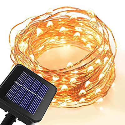 Solar 8 Lightning Modes Powered String Light 150 LEDs Starry String Lights Copper Wire Lights Ambiance Lighting for Outdoor, Gardens, Homes, Dancing, Christmas Party(Warm White)