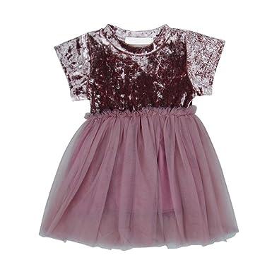 Summer Baby Girl Dress Mesh Stitching Puff Dress Suede Sweet Cute Children Princess Dress