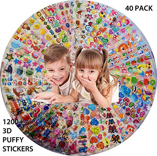 Stickers for Kids, 40 Sheets No Repeat 3D Puffy, Bulk stickers for Girl Boy Birthday Gift, Scrapbooking, Teachers, Toddlers, Including Cartoons, Animals, Cars, Fruits vegetables, and More (Girls)