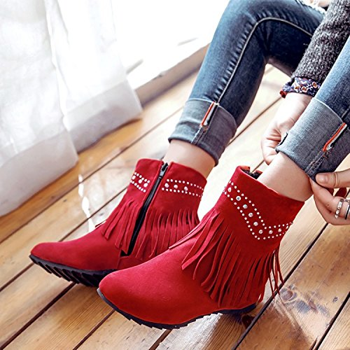 stylish boots wild increase the and barrel ZQ boots Red Autumn Winter head of short QX the to side female flow boots qBTnfPO