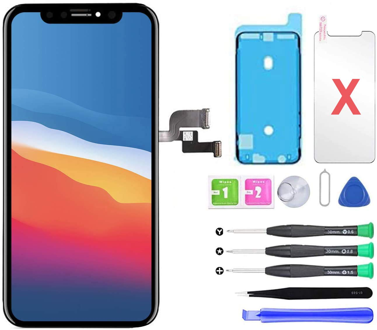 QTlier for iPhone X Screen Replacement 5.8 inch, LCD Repair Kit Assembly with 3D Touch+Screen Protector+Waterproof Glue+Repair Tools Kit (Black)