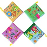 Kemilove Pack of 4 Baby Intelligence Development Soft New Cloth Book, Alphabet, Numbers, Animals, Shapes