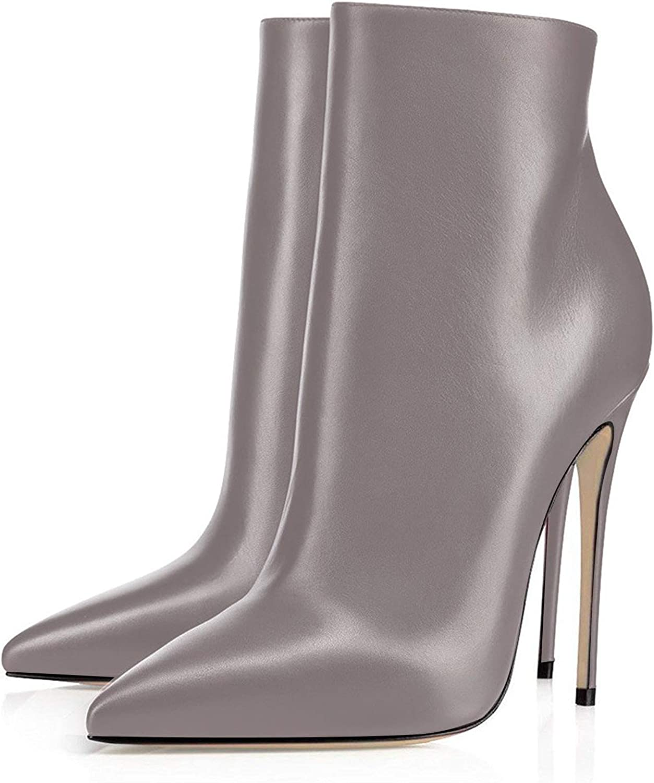 elashe Stivaletti Donna con Tacco|120mm Elegante Tacco Alto Blocco Stivaletti | Classiche Stivaletti Donna Inverno Grigio
