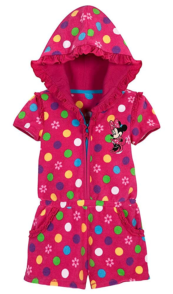 Pink Floral Hooded Romper Disney Store Minnie Mouse Swimsuit Cover Up Size 5T