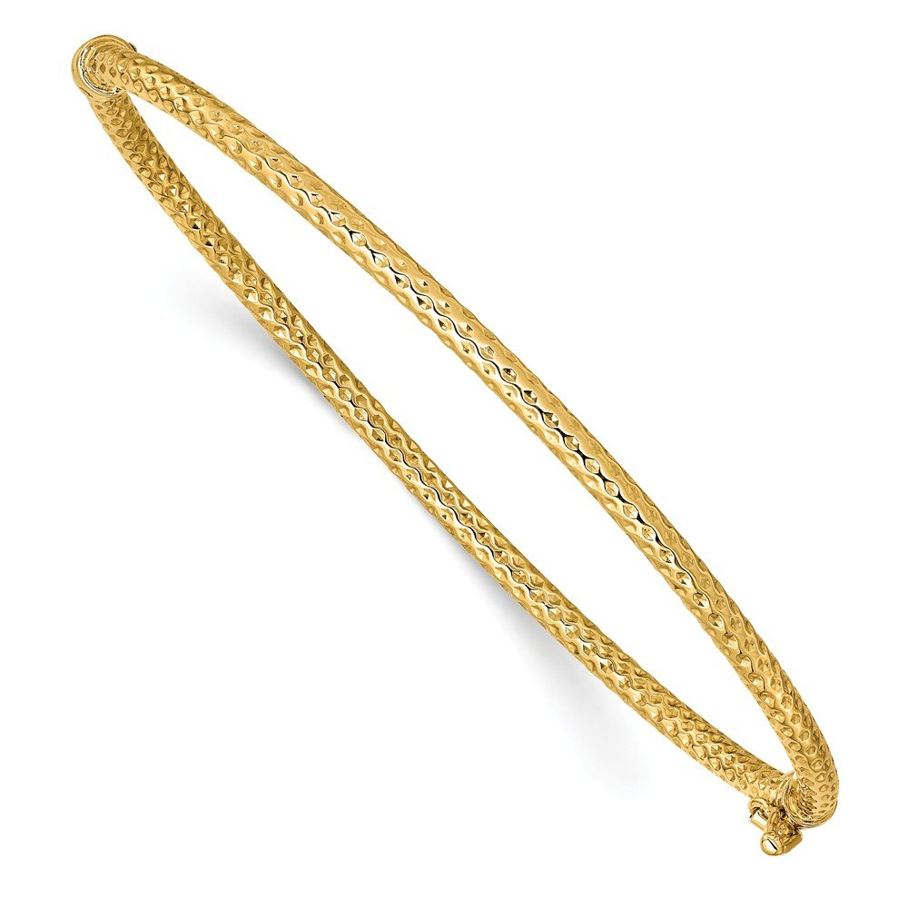 14K Yellow Gold Textured Hinged Bangle Bracelet ~ length: 7 inches ~ from Roy Rose Jewelry