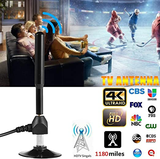Antena de TV Compatible con Canales 4K 1080P HD con Amplificador Desmontable Amplificador de se/ñal HD TV Digital amplificada Antena de TV para Interiores 1180 Millas Acceso de Largo Alcance TDT