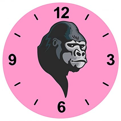 """Cristal Reloj """"Gorilla de plata espalda la cabeza selva Animales Depredadores Wildnis África"""