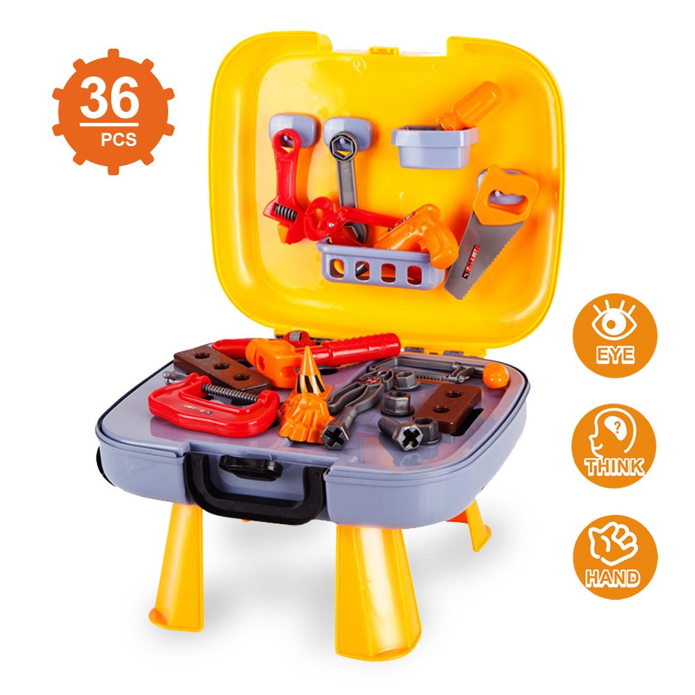 Kids Tool Set-Pretend Play Workbench for Toddlers with a Durable Plastics Case and 36 Pieces Construction Accessories-Including Wrench Drill Hammer Saw and More. ToyerBee