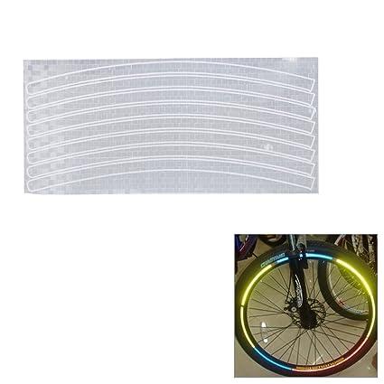 Pegatina reflectante de rayas para ruedas de bicicleta, color plateado