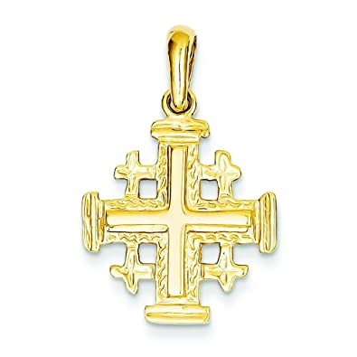 Amazon 14k yellow gold jerusalem cross pendant charm jewelry 14k yellow gold jerusalem cross pendant charm aloadofball Images