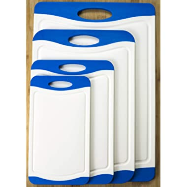 [X-Large Set] 4 Pcs Premium White Plastic Cutting Board Set BPA-Free PP with Juice Groove and Rubber Non-Skid Edges Thick Cutting Board Set Includes S, M, L, and XL Sizes