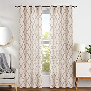 "jinchan Print Curtains Moroccan Tile for Living Room- Quatrefoil Flax Linen Blend Textured Geometry Lattice Grommet Window Treatment Set for Bedroom 50"" W x 84"" L 2 Panels Taupe"
