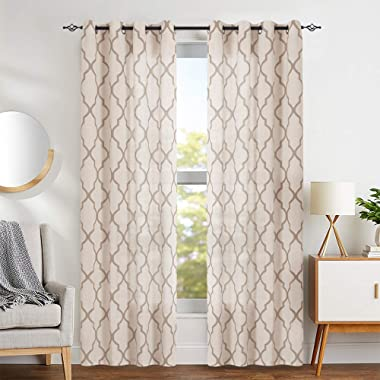 jinchan Print Curtains Moroccan Tile for Living Room- Quatrefoil Flax Linen Blend Textured Geometry Lattice Grommet Window Treatment Set for Bedroom - 50  W x 84  L - (2 Panels) Taupe