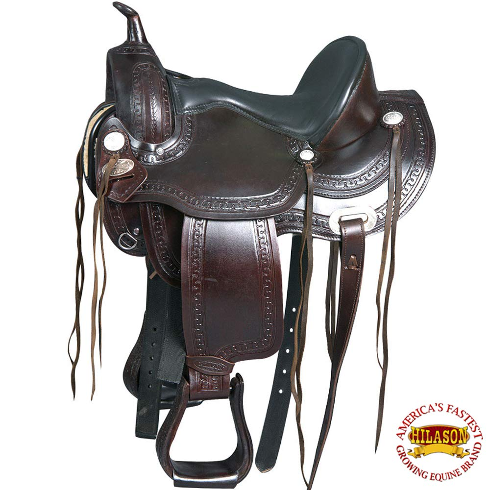 Hilason flex-tree Trail Pleasure Endurance WesternレザーHorseサドル 18 INCHES  B01N9MINUY