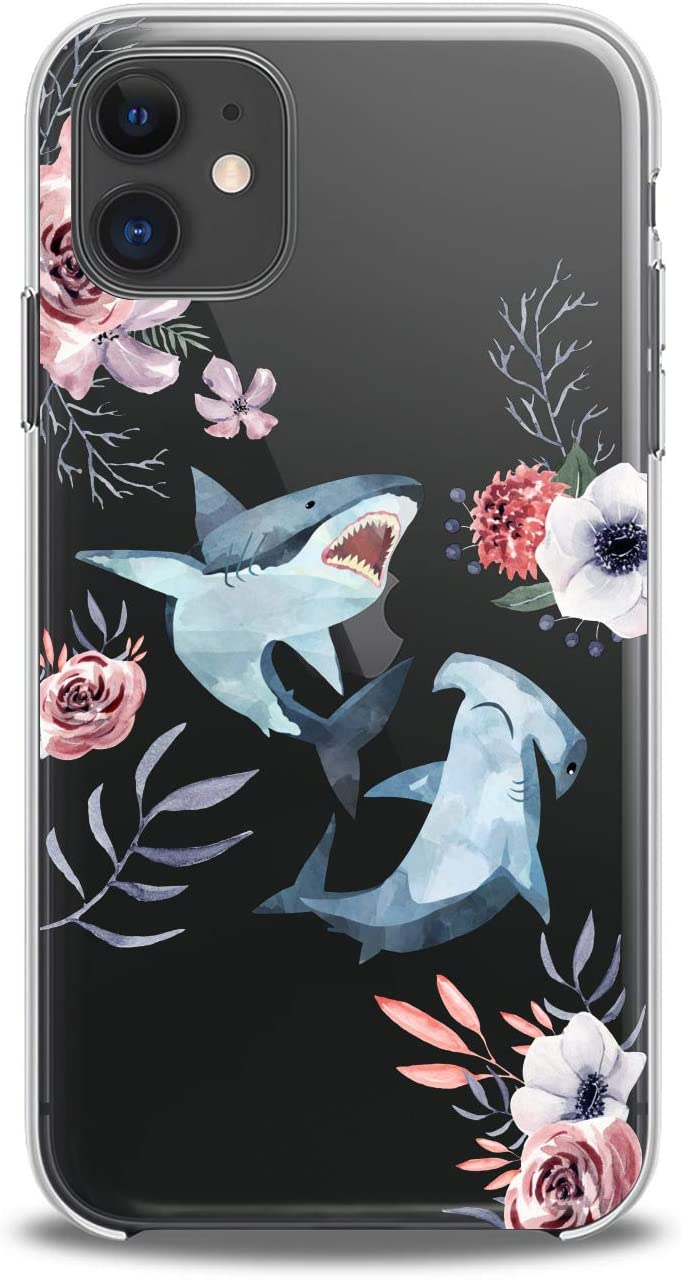 Lex Altern TPU Case for iPhone Apple 11 Pro Xs Max Xr 8 X 7 Plus 6s 5 Whale Clear Shark Flowers Design Print Floral Girl Fish Gift Love Lightweight Cover Cute Flexible Slim fit Smooth Soft Art Teen