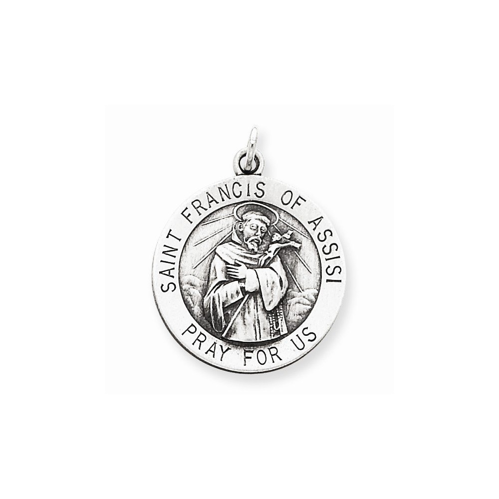 Sterling Silver Antiqued Saint Francis of Assisi Medal