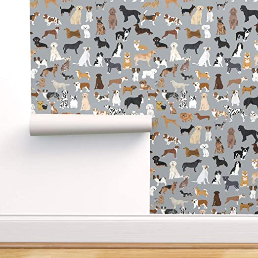 Spoonflower Peel and Stick Removable Wallpaper, Dogs All Pets Dog Breed Cute Grey Pattern Pet Portrait Print, Self-Adhesive Wallpaper 24in x 108in Roll