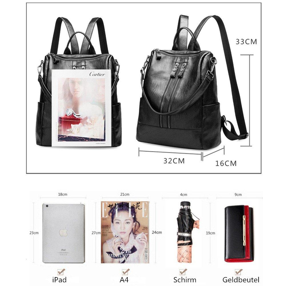 5213d6944efe2 Leefrei Damen Rucksack Damen Tasche Leder Daypack Backpacks  Freizeitrucksack (2in1 Schwarz) größeres Bild