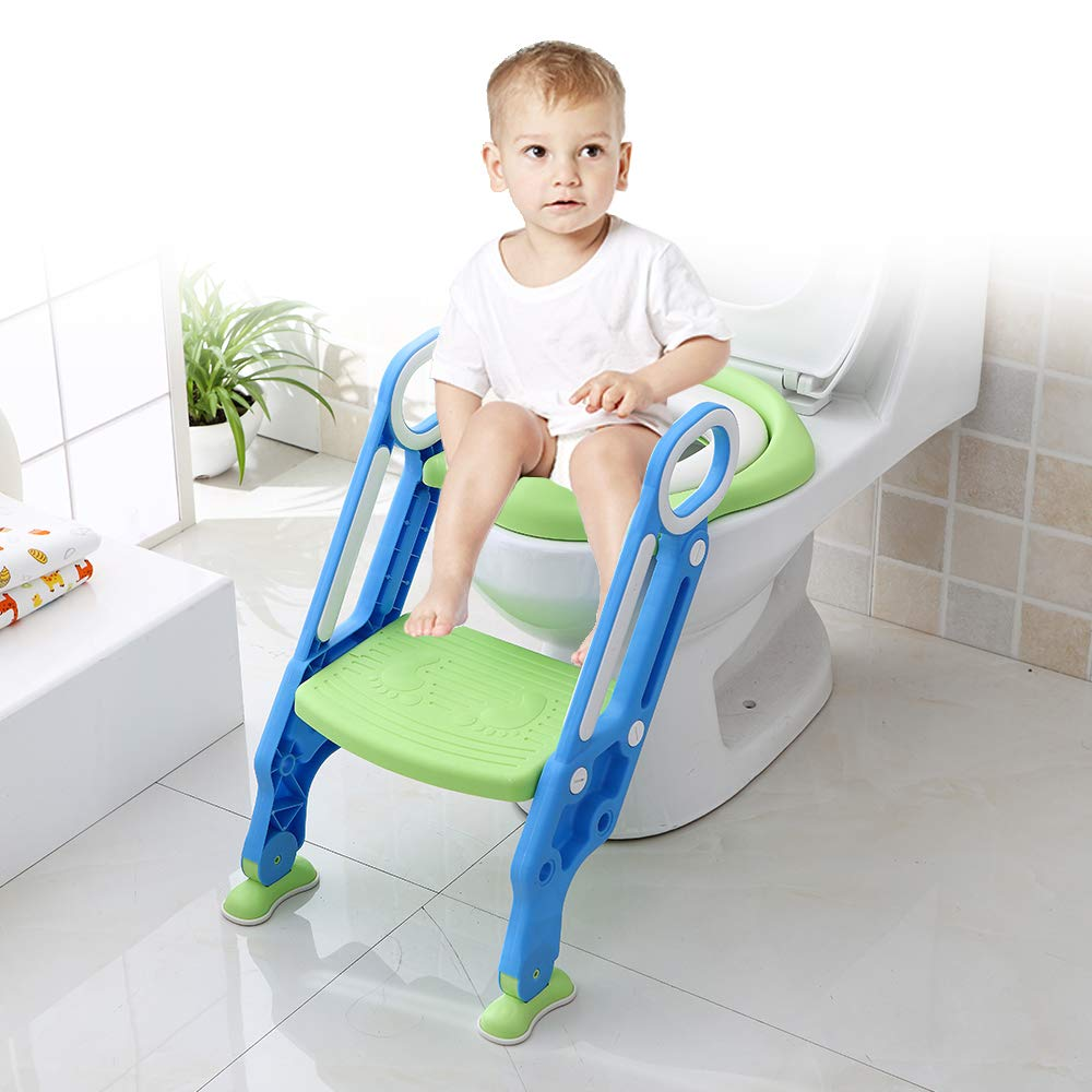 Potty Training Seat with Step Stool Ladder,Toddler Toilet Seat Adjustable Baby Toilet Trainer Seat, Potty Training Non-Slip Pedal and Soft Cushion,Easy & Safe Potty Chair (Blue-Green) by Yoocuty