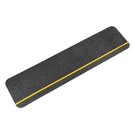 Black Anti Slip Stair Treads Non Skid 60 Grit Safety Tape With Stripe  6u0026quot; X
