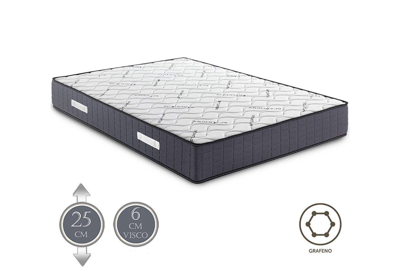 SUENOSZZZ - Colchón Viscoelástico Platinium Confort (Altura 26 cms,(5,5 cms)) (135 x 180 x 26 cms) - Color - Blanco/Gris: Amazon.es: Hogar