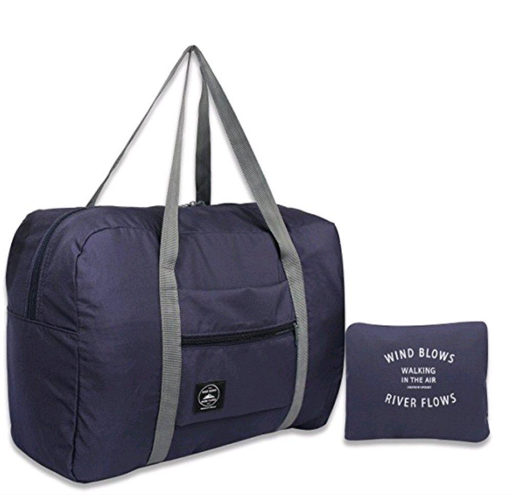 Foldable Travel Bag for Women Waterproof Lightweight Tote Bag Shoulder strap Duffel Bag Portable Bag (Blue) by MMIRAG (Image #1)