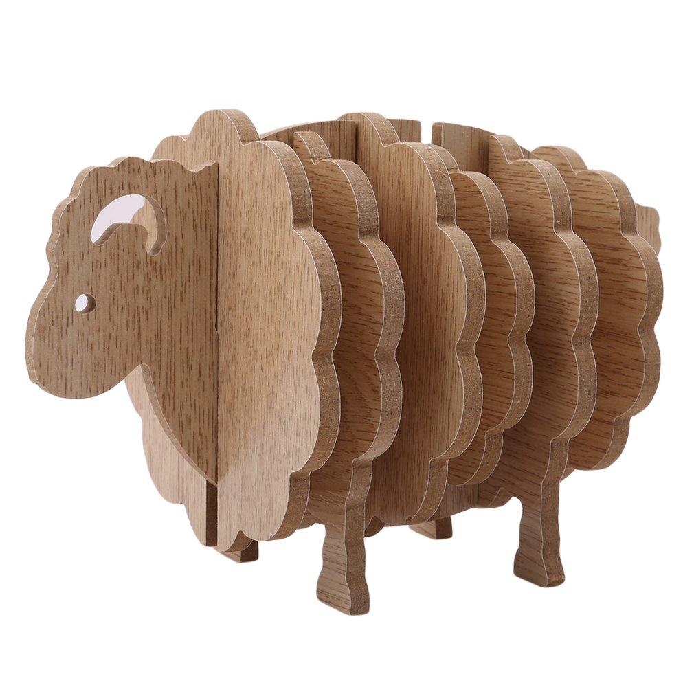 SOURBAN 3D 羊型 コースター ドリンクカップ用 マグマット 木製コースター ホームデコレーション DIY ハンドメイド コースター ノンスリップマット 断熱パッド   B07GDLJSSW