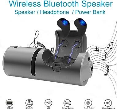 Auricular Bluetooth V4.2 - IPX4 a Prueba de Agua Auriculares inalámbricos con Estuche de Carga rápida y Altavoz estéreo HiFi para Correr Deportes al Aire Libre (Negro): Amazon.es: Electrónica