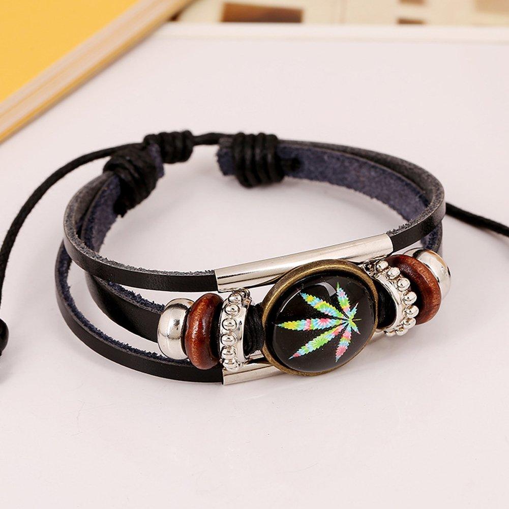D.B.MOOD Adjustable Genuine Leather Bracelet - Marijuana Weed Leaf Black by D.B.MOOD (Image #2)