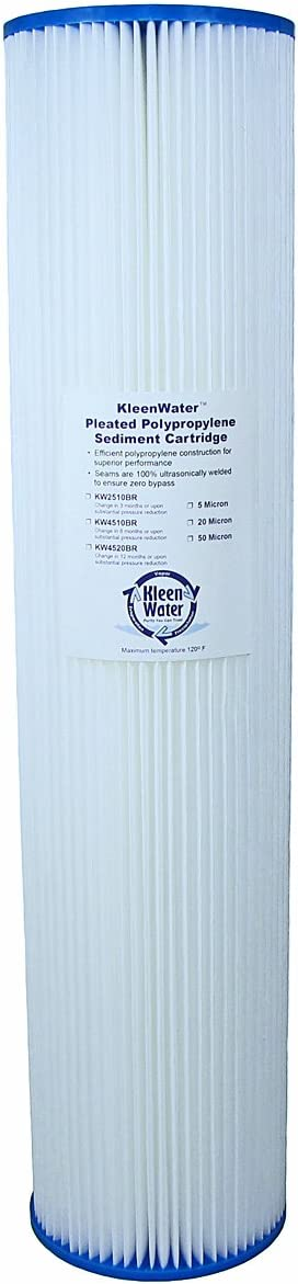 4.5 x 20 Inch Pack of 4 Pleated Dirt Rust Sediment Water Filter KleenWater KW4520BR Replacement Cartridge 50 Micron