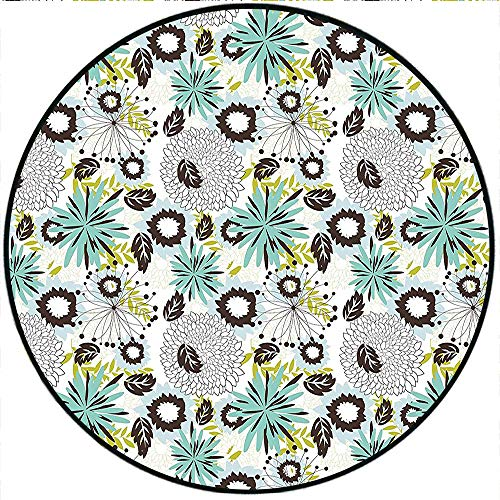 """Short Plush Round Area Rug Floral Mix Flowers in Vibrant Colors Pattern Flourishing Blooms Petals Buds Artwork Turquoise Brown Dining Room Bedroom Hallway Home Office 74.8"""" x 74.8"""" Round"""