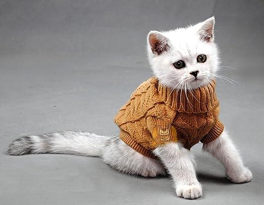 Cuello alto Mascota Gatos Jersey Aran Jersey Punto Doggie Chihuahua de gato Kitty ropa Solid Colors para perro: Amazon.es: Productos para mascotas