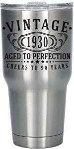 Vintage 1930 Etched 30oz Stainless Steel Insulated Vacuum Sealed Tumbler - 90th Birthday Aged to Perfection - 90 years old gifts