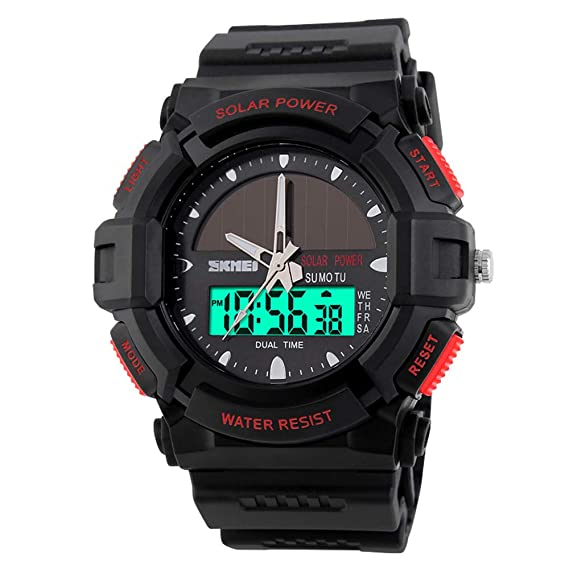 a31566893c0 Amazon.com  SKMEI Men s Solar Sports Watch Waterproof Dual Time Digital  Quartz Outdoor Military Watches for Men  SKMEI  Watches
