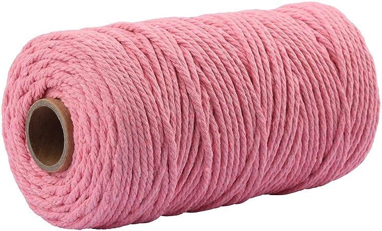 Camal - Cordón de algodón de macramé, hilo de macramé natural, cuerda de algodón para colgar en la pared, soporte para plantas, paquetes de regalo y decoraciones, 3 mm x 100 m: