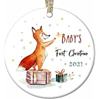Baby's First Christmas Ornament 2021 Newborns Xmas Gifts - Baby Fox 2.8 Inch Flat Circle Ceramic Decor with Tag & Gold…