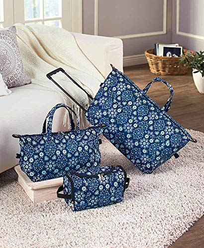 3-Pc. Trendy Luggage Set, Blue Floral