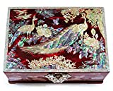 MADDesign Jewelry Box Ring Organizer Mother of Pearl Inlay Mirror Lid 2 Level Peacock Red