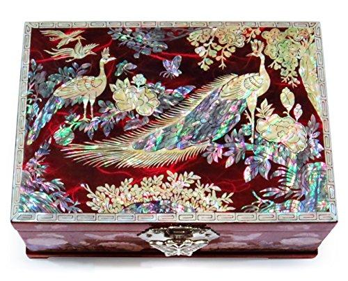 MADDesign Jewelry Box Ring Organizer Mother of Pearl Inlay Mirror Lid 2 Level Peacock (Red)